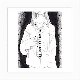 I Play Piano Tie Art Print