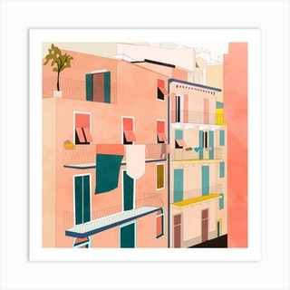 Little Italy Houses Square Art Print
