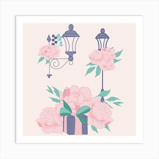 Street Lamps And Peonies Square Art Print