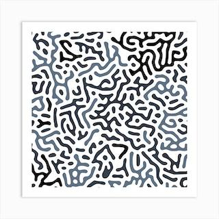 Organic Digital Shapes Dark Blue Square Art Print