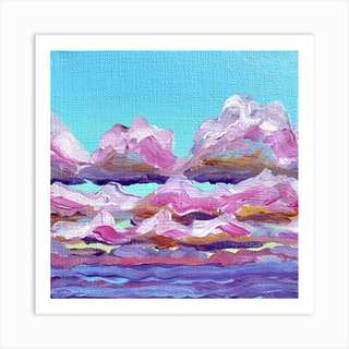 Pink Clouds Square Art Print