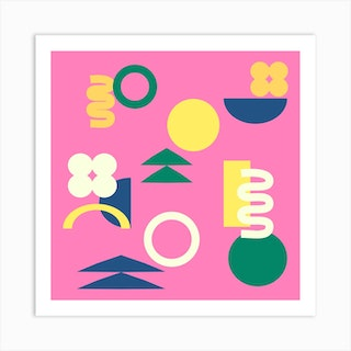 Shapes In Pink Square Art Print