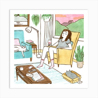 Life With Cats Square Art Print