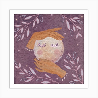 Moon In Her Hands Square Art Print