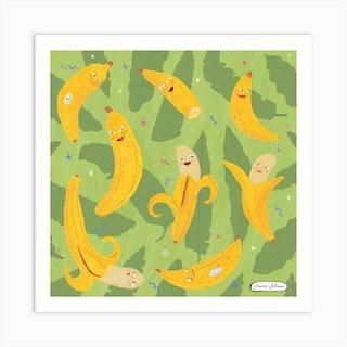 Happy Bananas Square Art Print