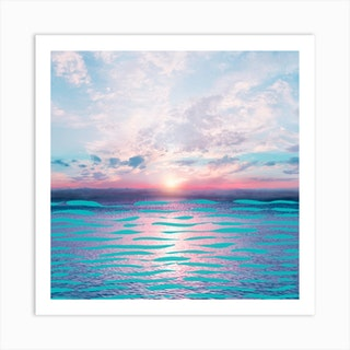 Turquoise Lines In The Ocean Square Art Print