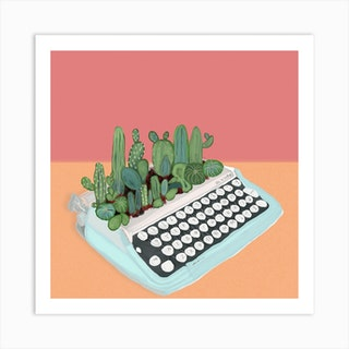 Cactuses And Typewriter Square Art Print