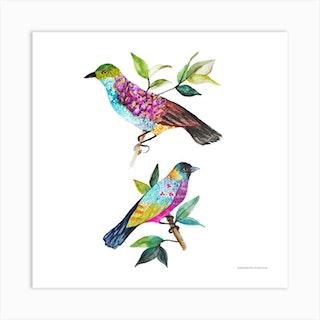 Les Oiseaux Square Art Print