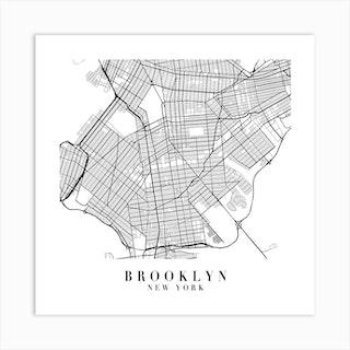 Brooklyn New York Street Map Minimal Square Art Print