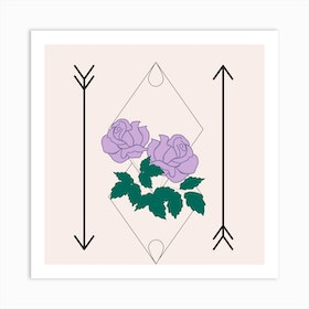 Purple Rose And Arrows Square Art Print