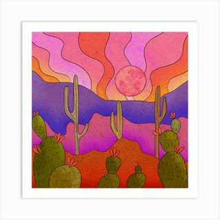 Blooming Cacti Square Art Print