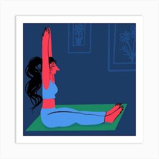 Yoga At Home Square Art Print