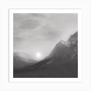 Black And White Sunset Square Art Print