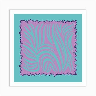 Aqua Tiger Square Art Print