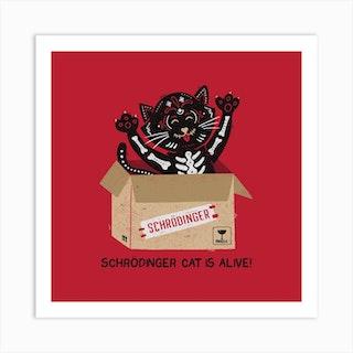 Am I Alive Schrodinger Cat Square Art Print