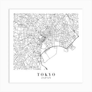 Tokyo Japan Street Map Minimal Square Art Print