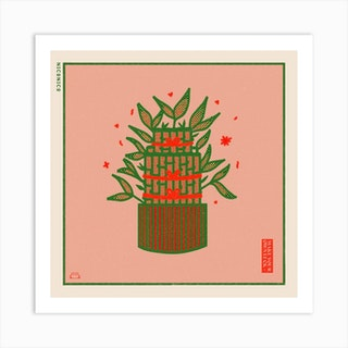 The Lucky Bamboo Square Art Print