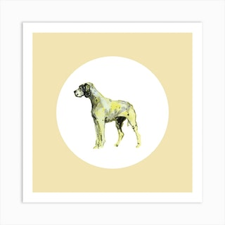 Pointer On Yellow White Square Art Print