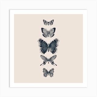 Inked Butterflies Beige Square Art Print