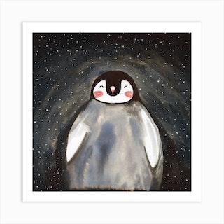 Happy Penguin Square Art Print