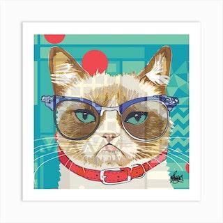 Margaret Grumpy Cat Square Art Print