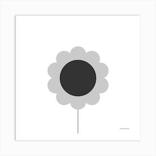 Flower Grey Square Art Print