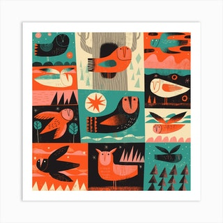 Owls 3 Square Art Print