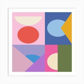 Colorful Quadrants Square Art Print