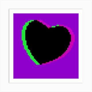 Purple Pixel Heart Square Art Print