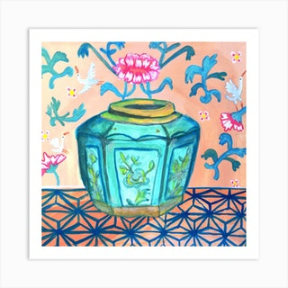 Chinoiserie Ginger Pot With White Cranes Square Art Print