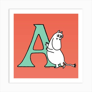 Moomin Collection Alphabet Letter A Art Print