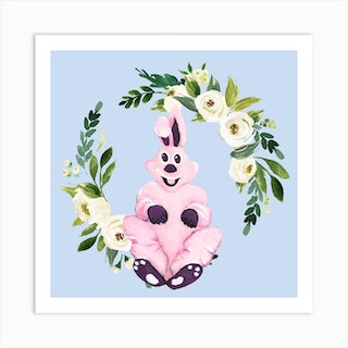 Pink Bunny And Flower Wreath Square Art Print
