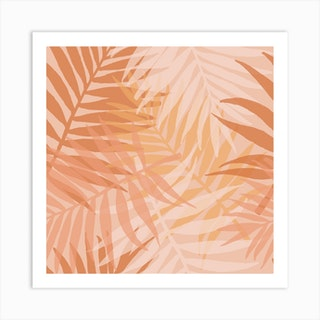 Pink Palms Square Art Print