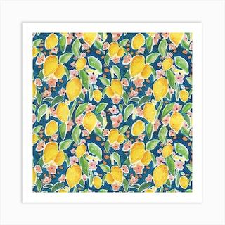 Watercolour Citrus Art Print
