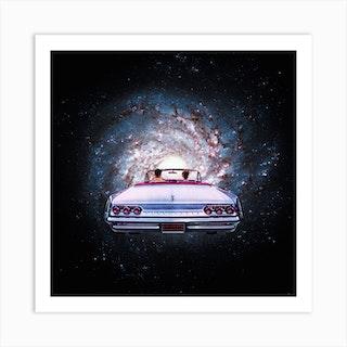Space Car Square Art Print