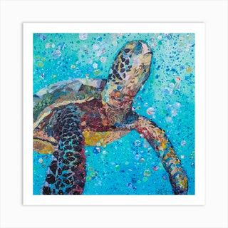 Blue Baby Turtle In The Sea Square Art Print