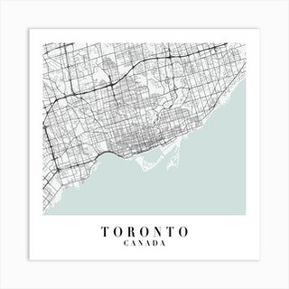 Toronto Canada Street Map Minimal Color Square Art Print