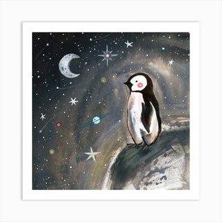 Penguin And Stars Square Art Print