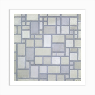 Composition In Bright Colors With Gray Lines, Piet Mondrian Square Art Print