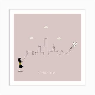 Manchester Skyline Old Rose Pink Art Print