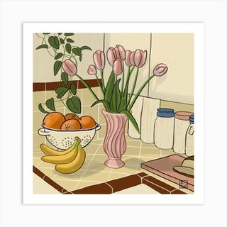 Kitchen Still Life With Pink Tulips Square Art Print