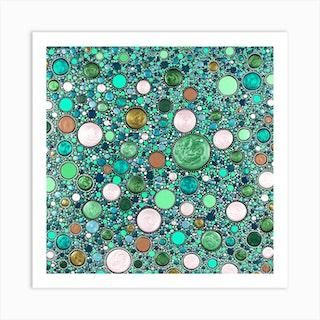 Mountain Zen Turquoise Square Art Print