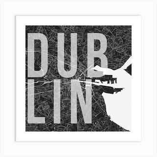 Dublin Mono Street Map Text Overlay Square Art Print