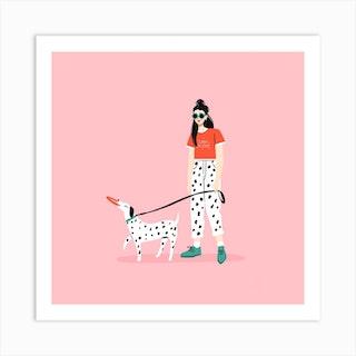 Like Dog Like Owner Square Art Print