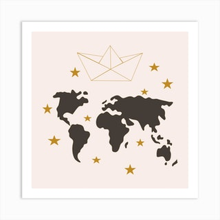 Paper Boat And World Map Square Art Print
