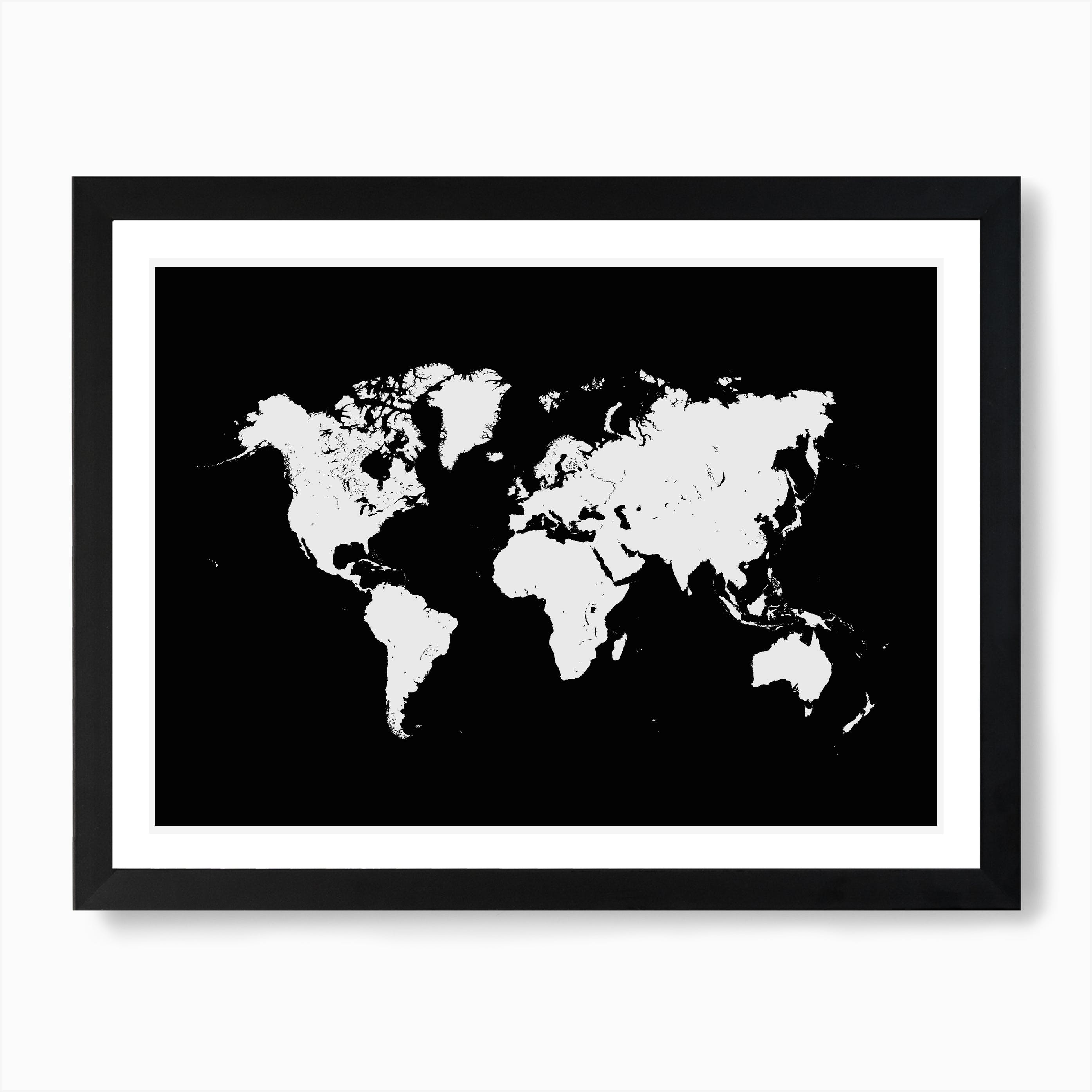 Image of: World Map In Black Wall Art Print Free Shipping Fy