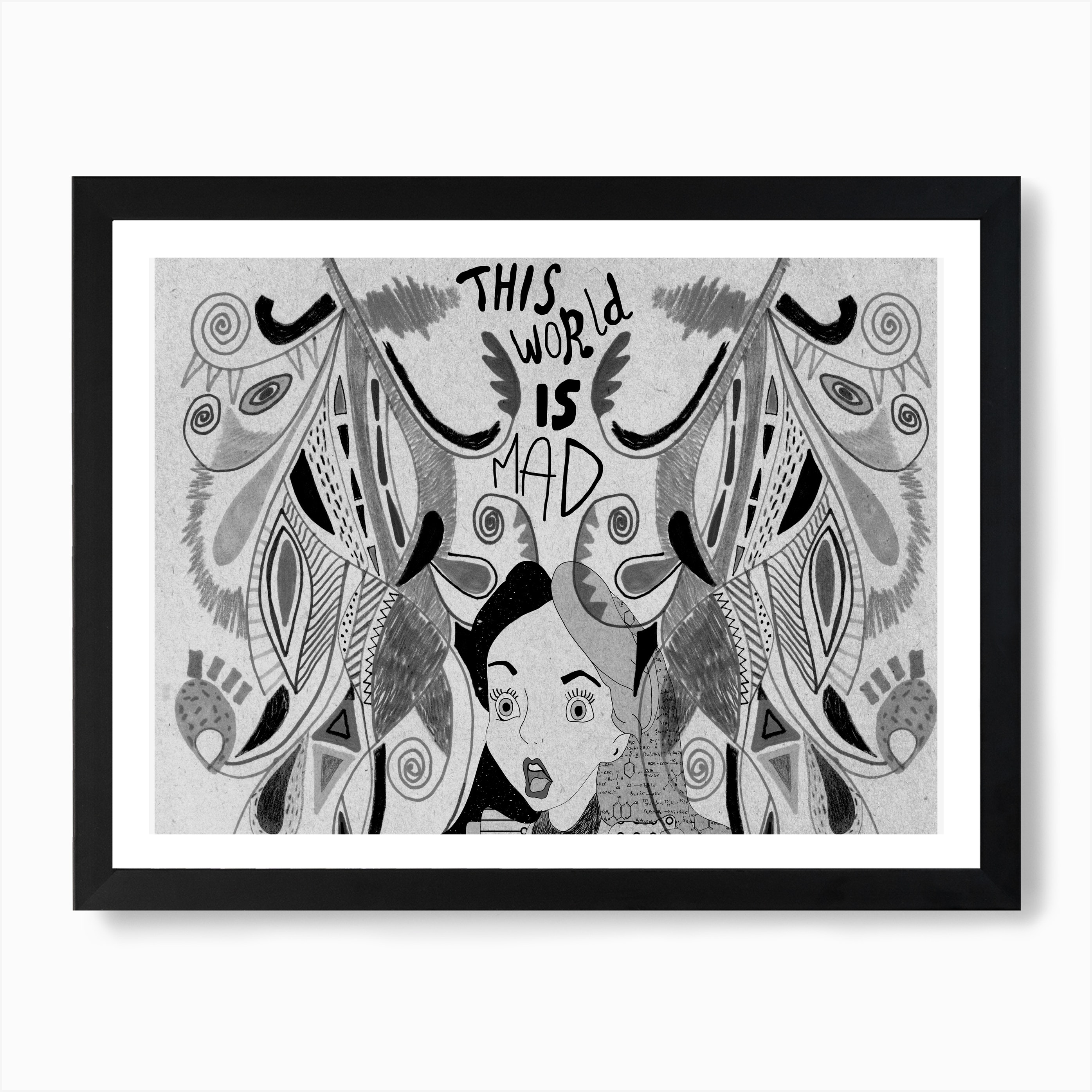 Alice In Wonderland Black And White Art Print By Vasare Nar Fy