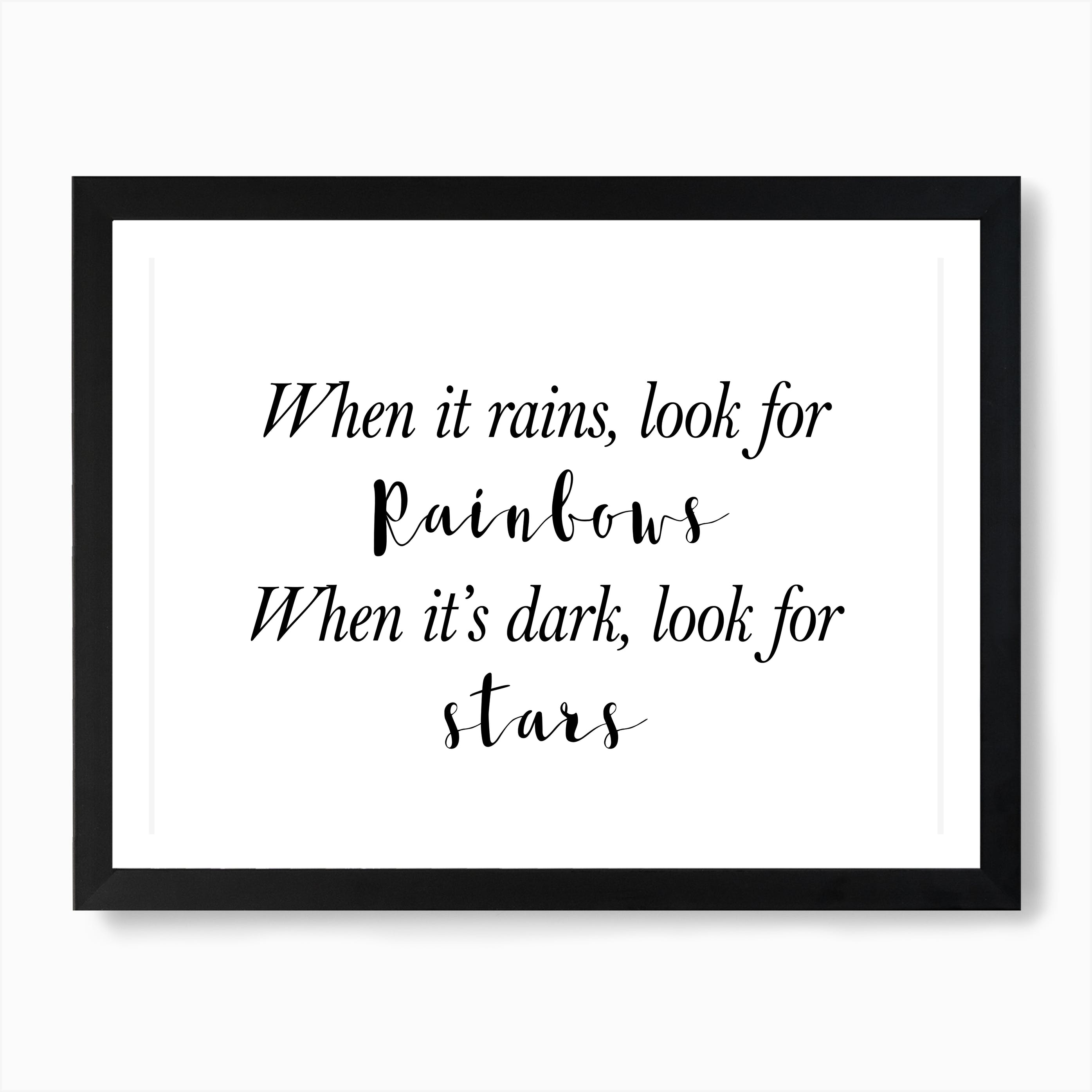 ALL SIZES WHEN IT RAINS LOOK FOR RAINBOW QUOTE Canvas Wall Art Print PLUM