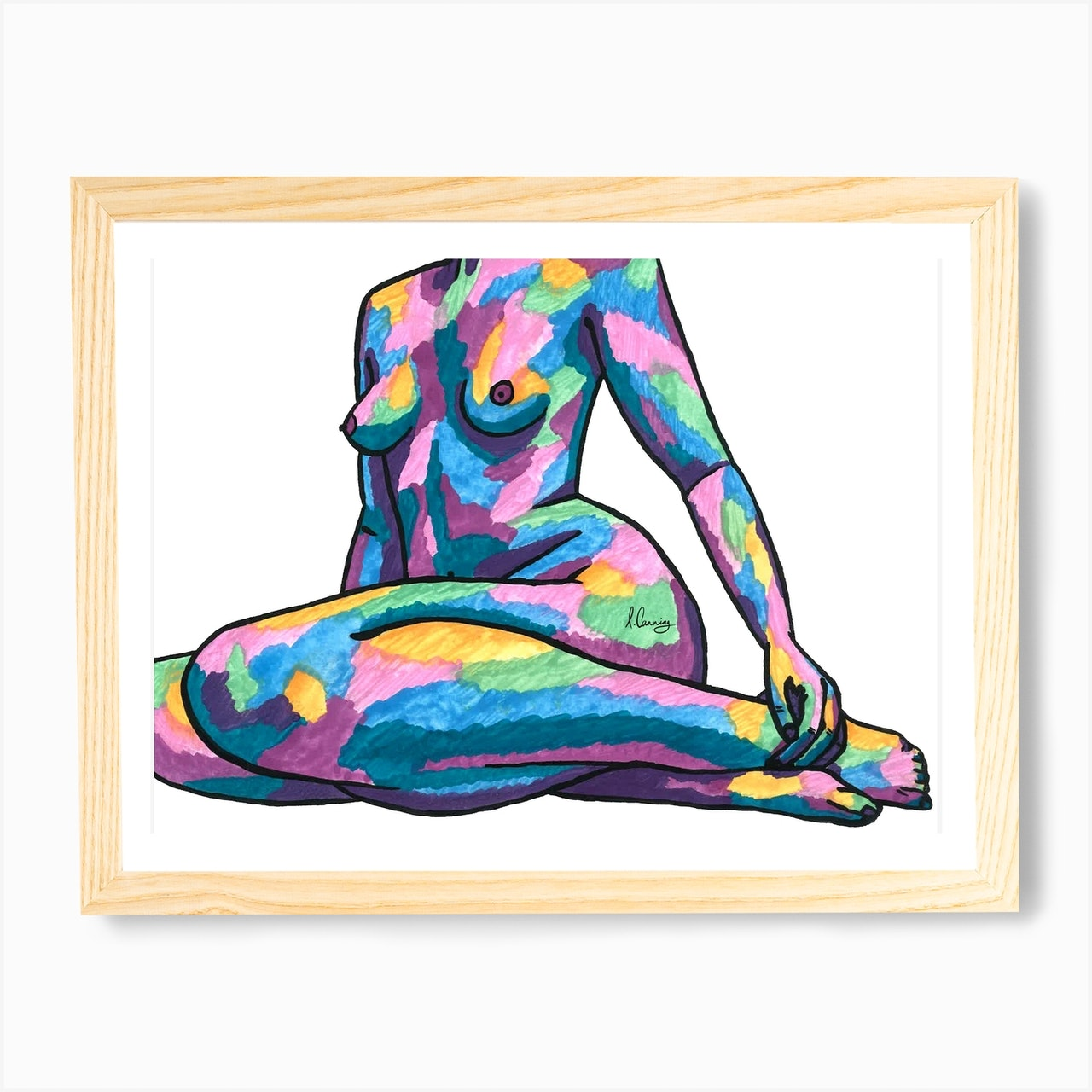 Peachy Nude Woman Art Print by Art by Izzy - Fy