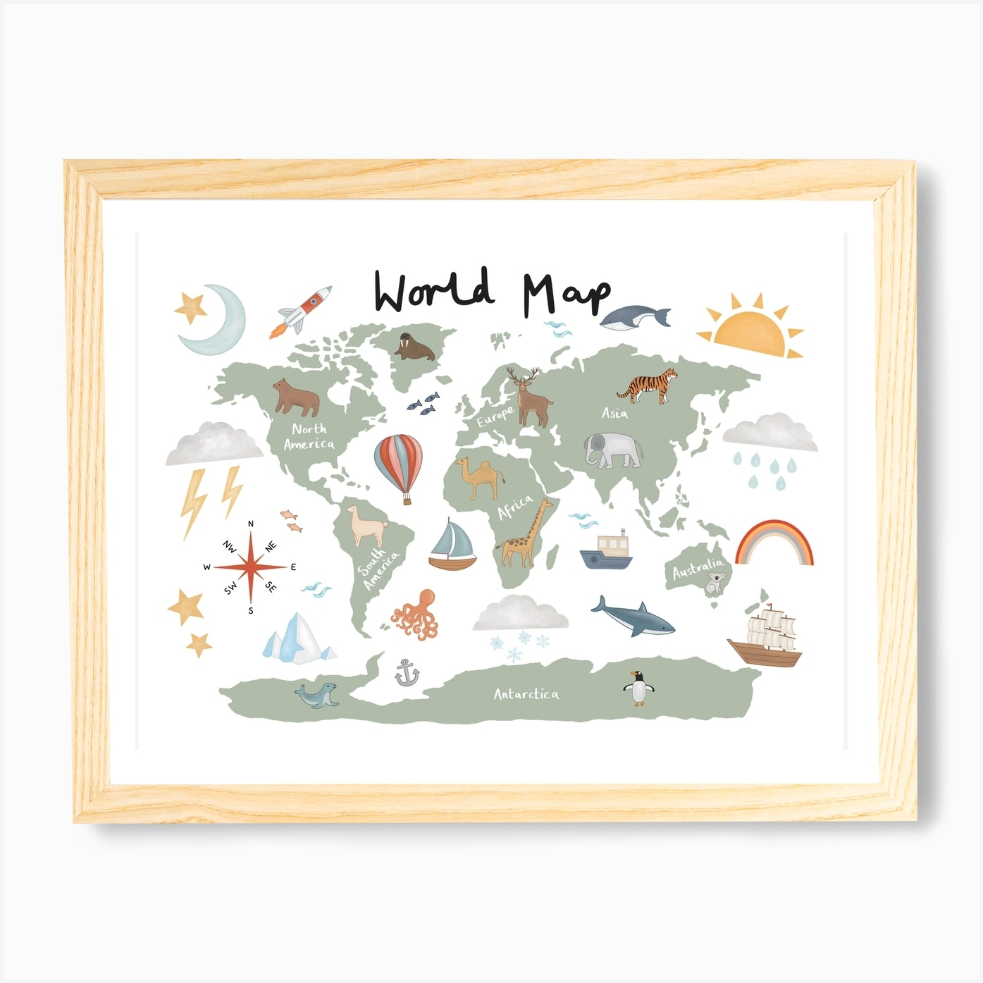 World Map In Green Art Print By Kid Of The Village Fy